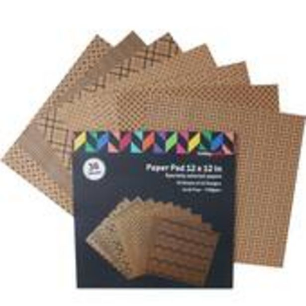 Kraft and Black Paper Pad 12 x 12 Inches 36 Sheets offer at £3.5