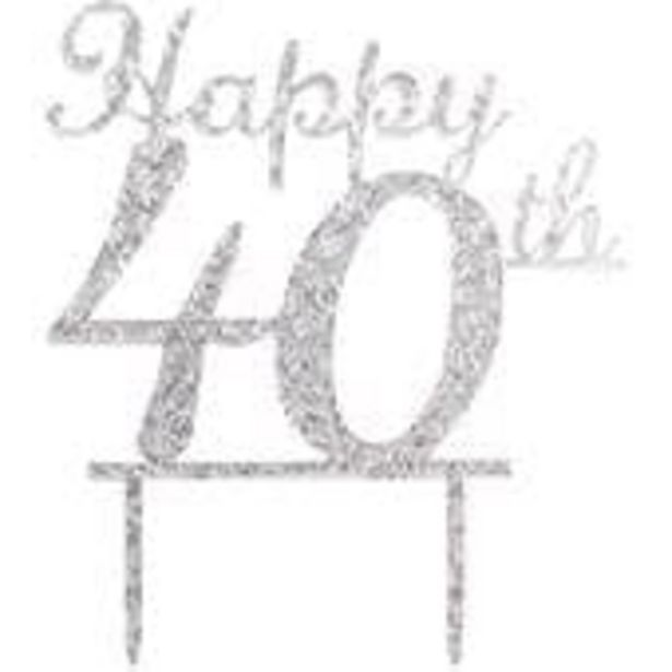Silver Happy 40th Cake Topper offer at £3.5