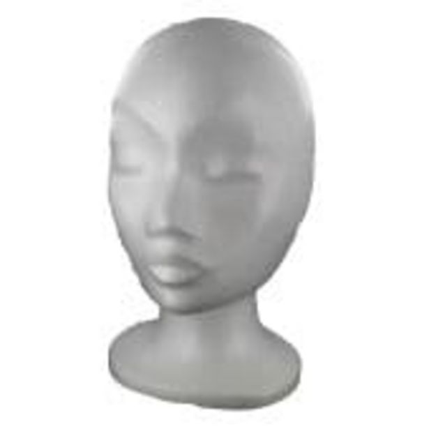 Polystyrene Female Head 28cm offer at £6