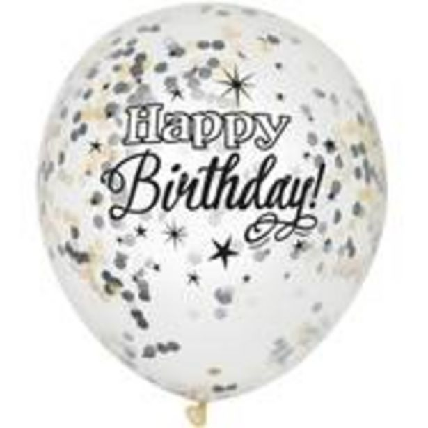 Silver and Cream Birthday Confetti Balloons 6 Pack offer at £2