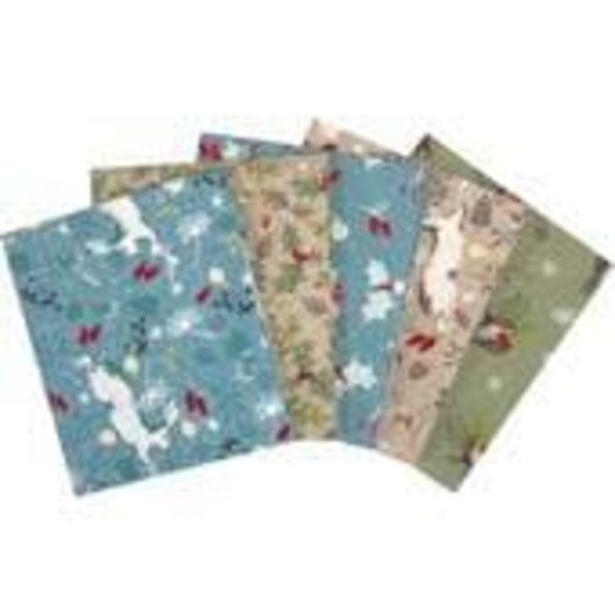 Christmas Hare and Robin Cotton Fat Quarters 5 Pack offer at £7
