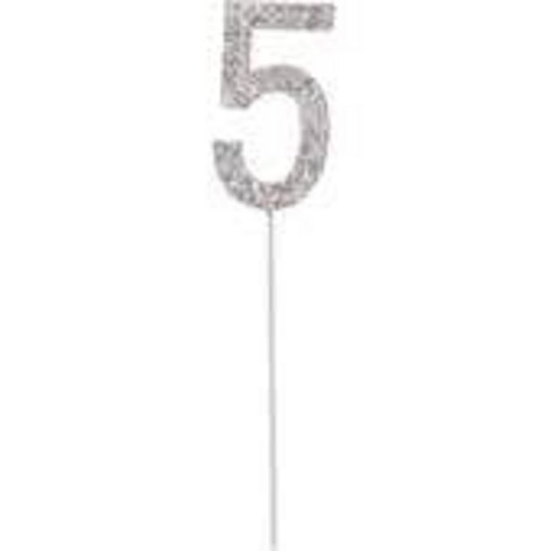 Silver Diamante Number 5 Cake Pick offer at £3