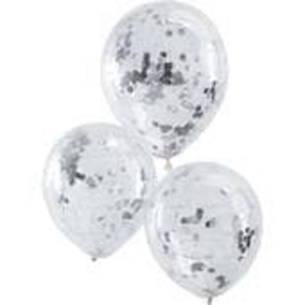 Ginger Ray Silver Confetti Balloons 5 Pack offer at £3