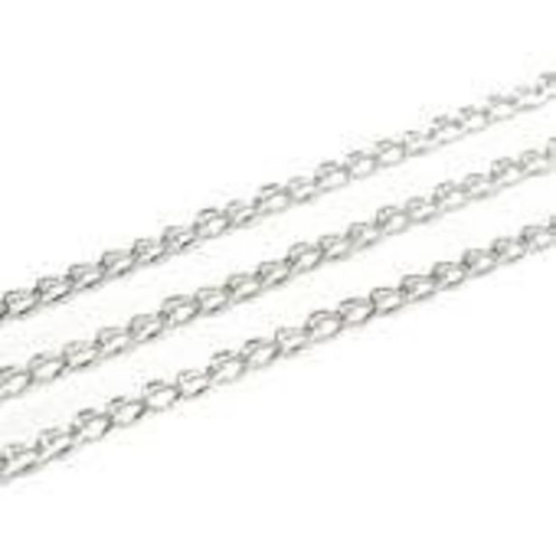 Beads Unlimited Silver Light Curb Chain 3mm x 1m offer at £3.5