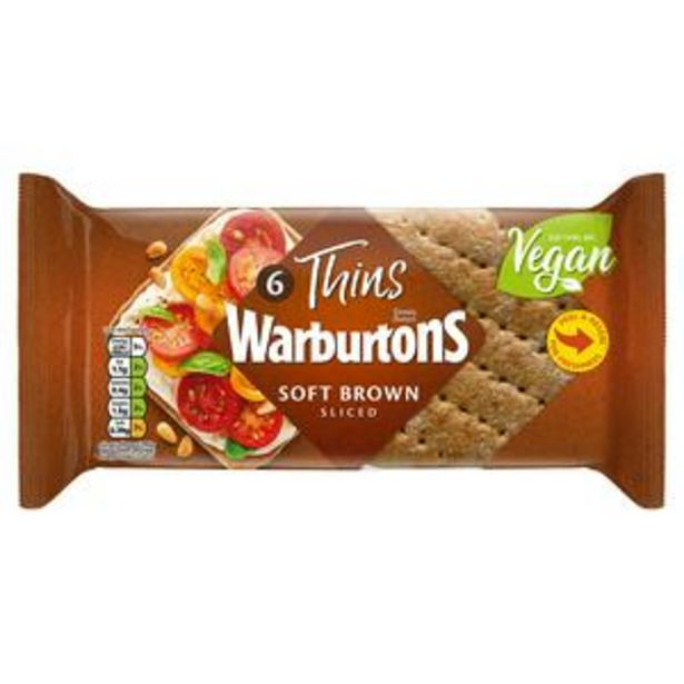 Warburtons Brown Sandwich Thins x6 offer at £1