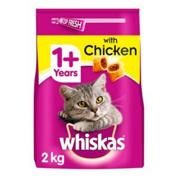 Whiskas Dry Adult 1+ Cat Food Biscuits with Chicken 2kg offer at £4.5