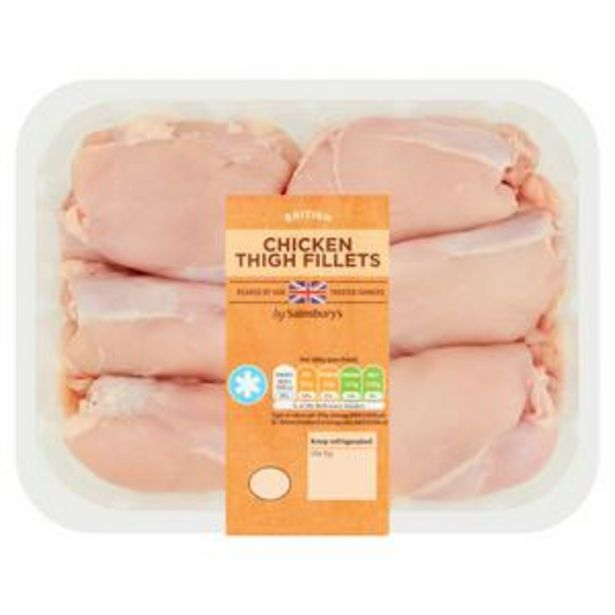 Sainsbury's British Fresh Chicken Thigh Fillets Skinless & Boneless 640g offer at £3.5