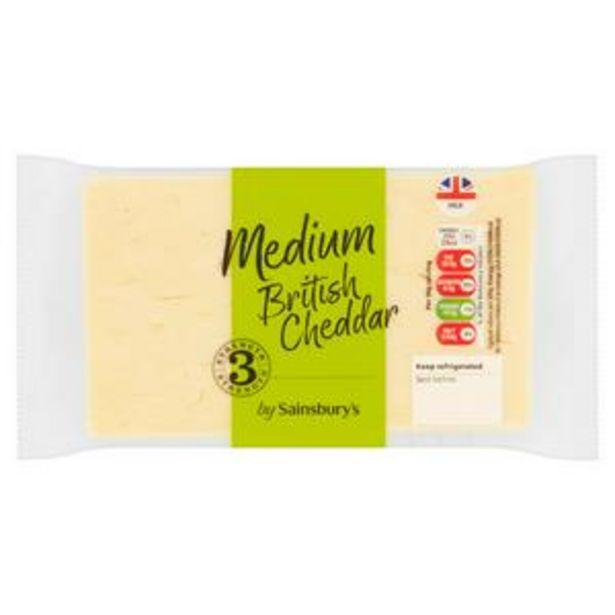 Sainsbury's British Medium Cheddar Cheese 400g offer at £2