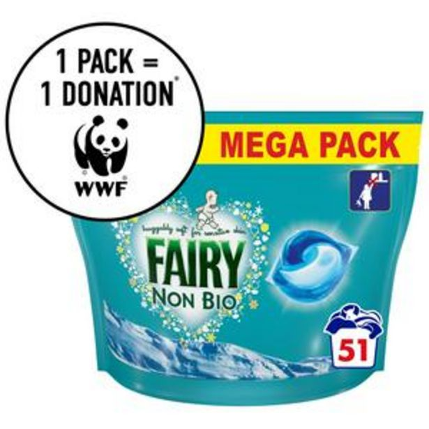 Fairy Non Bio 3in1 Pods for Sensitive Skin Washing Liquid Capsules (51 Washes) offer at £9