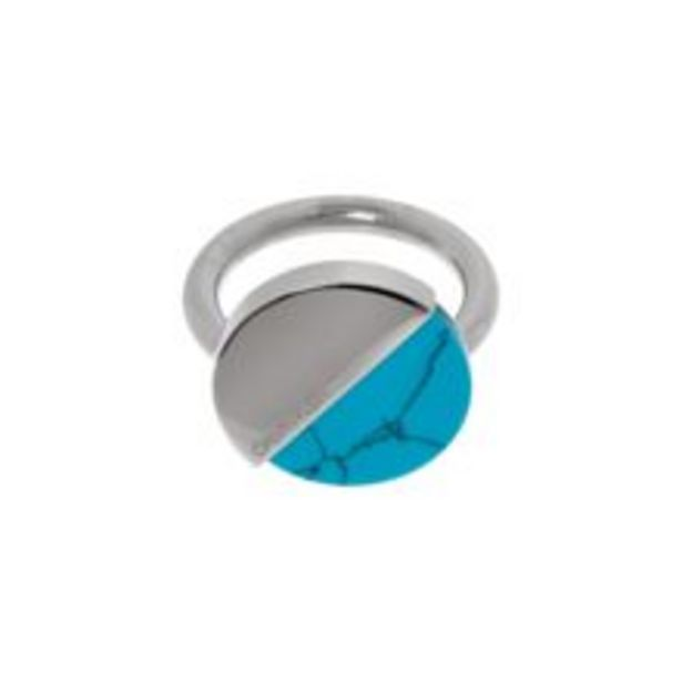Silver Half Paneled Round Ring offer at £12
