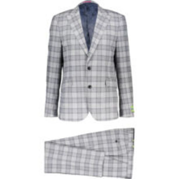 Silver Grey Checked Three Piece Suit offer at £80