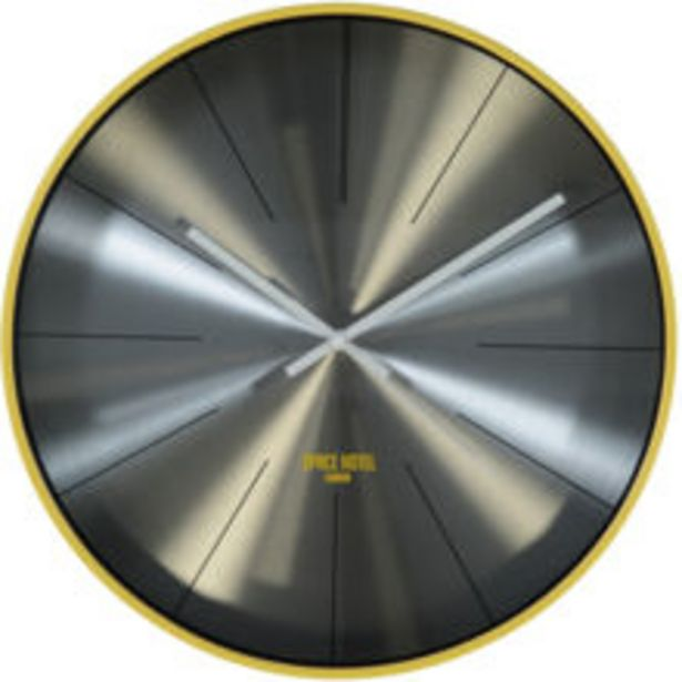 Yellow & Silver Tone Wall Clock 42x42cm offer at £14