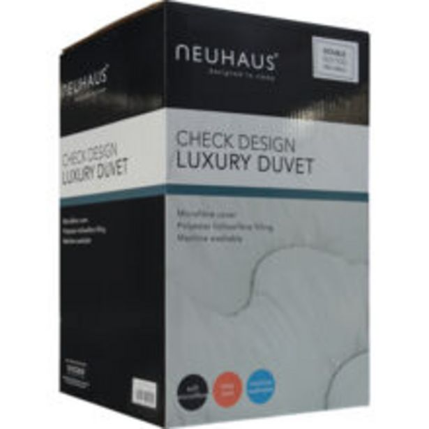 Double 10.5 Tog Check Design Luxury Duvet offer at £34.99