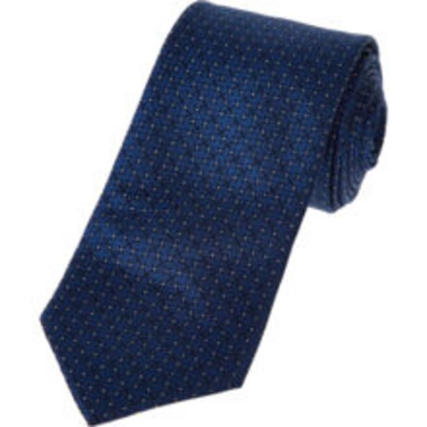 Navy & Silver Tone Dotted Silk Tie offer at £14.99