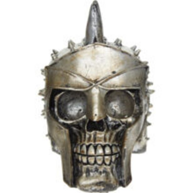 Silver Tone Skull In Helmut Ornament 7x10cm offer at £5.99