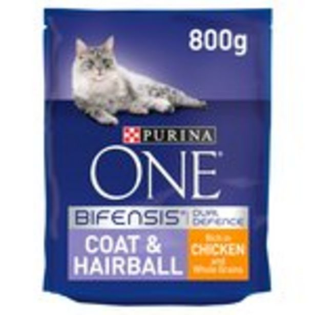 Purina ONE Coat & Hairball Dry Cat Food Chicken offer at £4