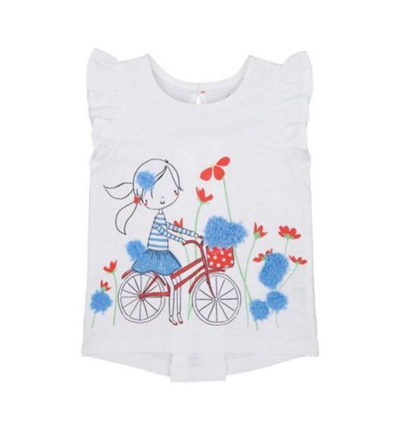 Mothercare girls swan lake white short sleeve tshirt offer at £3
