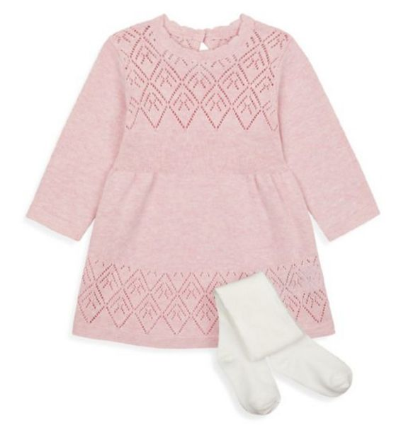 Pink Knitted Dress and Tights Set offer at £6.5