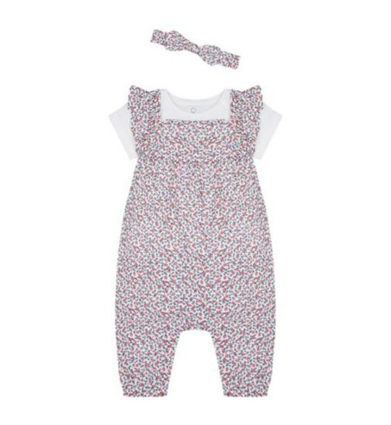 Mothercare girls swan lake floral jumpsuit and headband set offer at £7