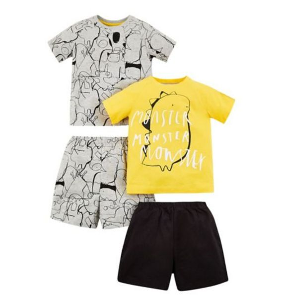 Mini Club 2 Pack Monster Shortie Pyjama offer at £7