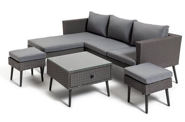 Habitat 5 Seater Rattan Corner Sofa Set - Grey offer at £500