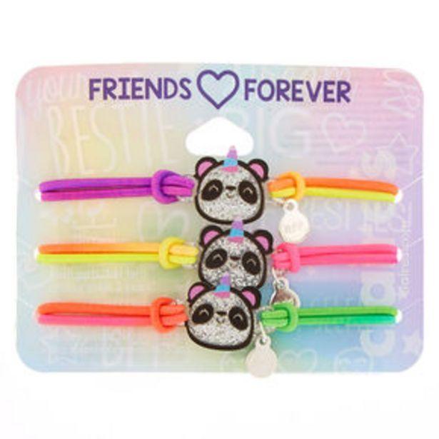 Neon Glitter Panda Stretch Friendship Bracelets - 3 Pack offer at £4.8