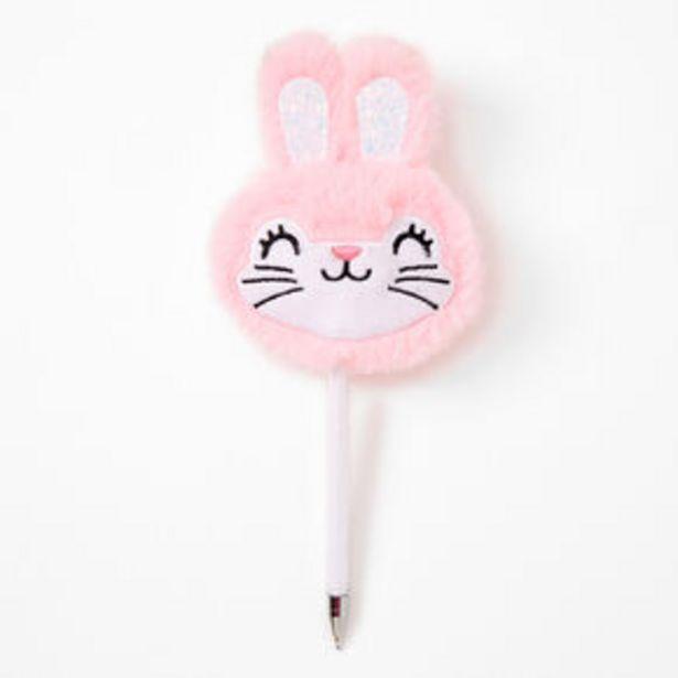 Bunny Rabbit Face Plush Pen - Pink offer at £2.7
