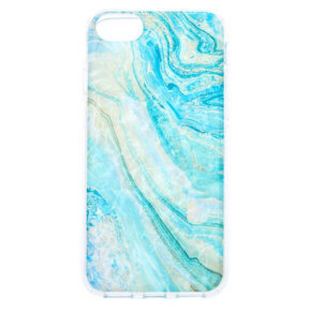 Turquoise Marble Shell Phone Case - Fits iPhone 6/7/8/SE offer at £2.25
