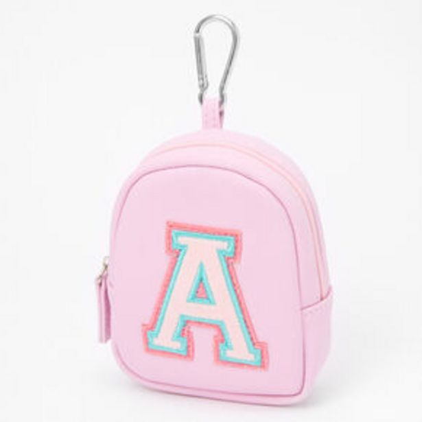 Pink Varsity Initial Mini Backpack Keychain - A offer at £3.6