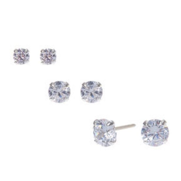 Sterling Silver Cubic Zirconia Round Stud Earrings - 3MM, 4MM, 5MM offer at £9