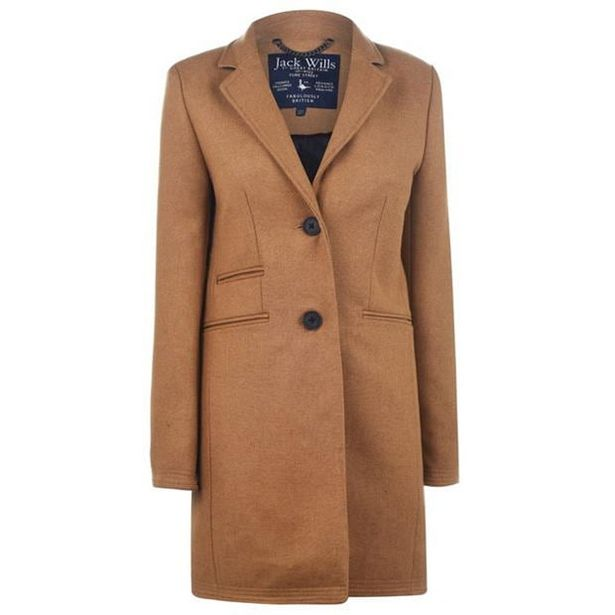 Jack Wills Pimlico Crombie Coat With Wool offer at £100
