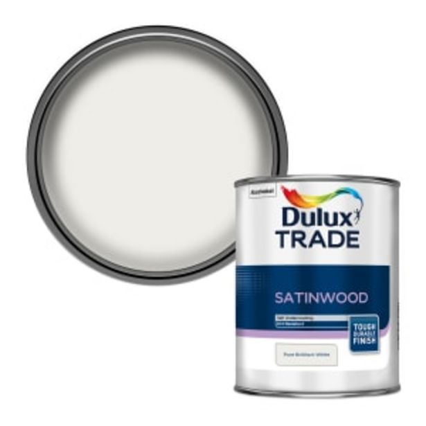 Dulux Trade Satinwood Paint 1L Pure Brilliant White offer at £19.63