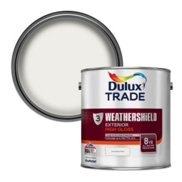 Dulux Trade Weathershield Exterior Gloss Paint 2.5L Brilliant White offer at £52.85