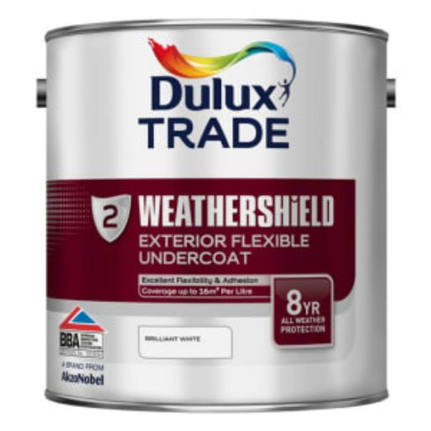 Dulux Trade Weathershield Undercoat Paint 2.5L Brilliant White offer at £61.56