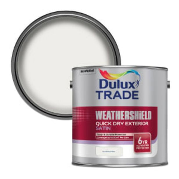 Dulux Trade Weathershield Exterior Satin Paint 2.5L Brilliant White offer at £63.42