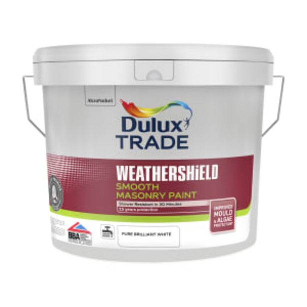 Dulux Trade Weathershield Smooth Masonry Paint Brilliant White 10L offer at £59.99