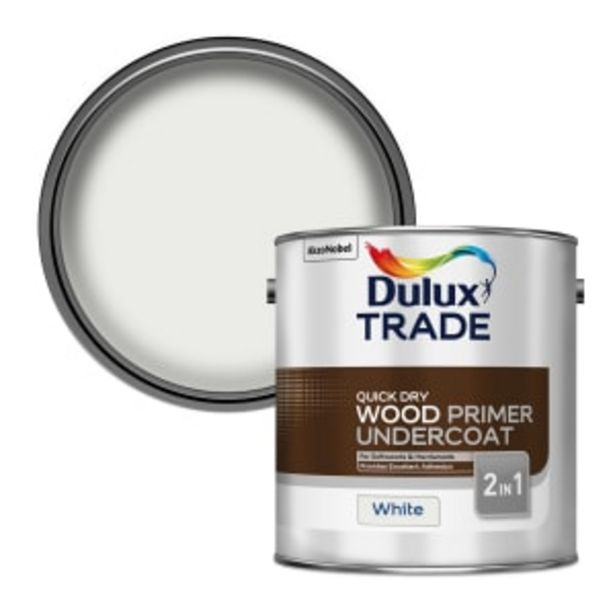 Dulux Trade Quick Dry Wood Primer Undercoat 2.5L White offer at £40.79
