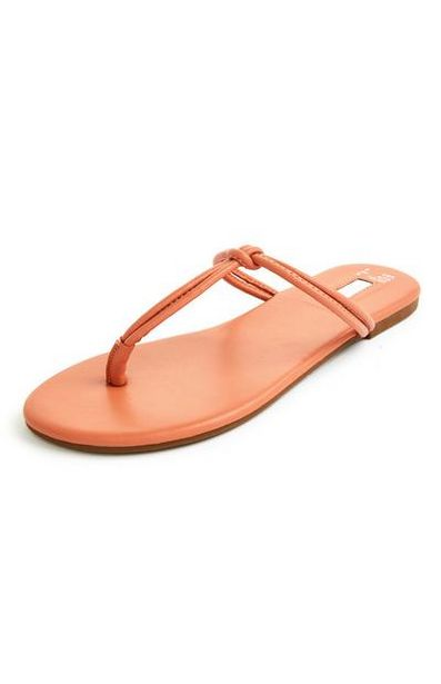 Orange Knotted Toe Post Sandals offer at £4