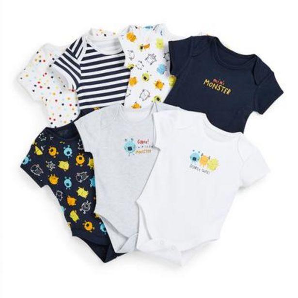 Newborn Baby Boy Monster Print Bodysuits 7 Pack offer at £7.5