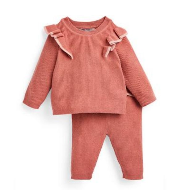 Baby Girl Coral Knit 2 Piece Set offer at £9