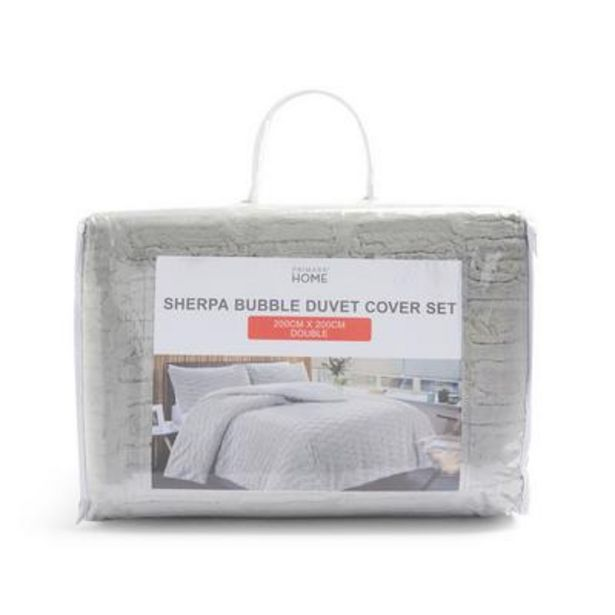 Grey Bubble Sherpa Double Duvet Cover Set offer at £25