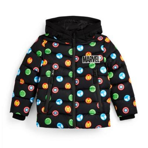 Younger Boy Black Marvel Print Puffer Jacket offer at £18