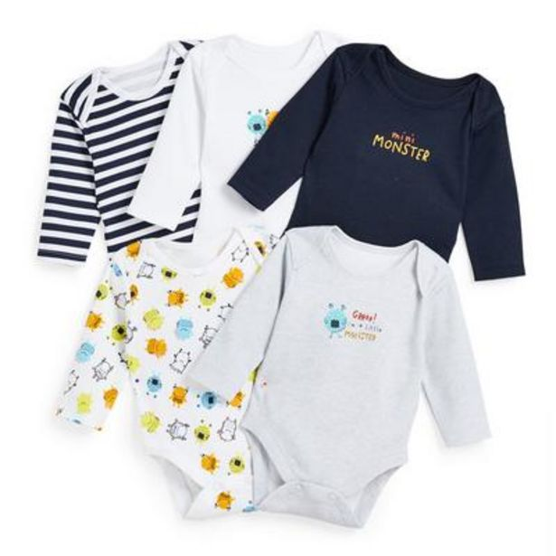 Baby Boy Monster Print Sleepsuits 5 Pack offer at £6