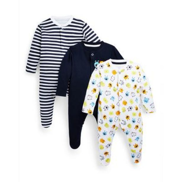 Baby Boy Monster Print Sleepsuits 3 Pack offer at £7