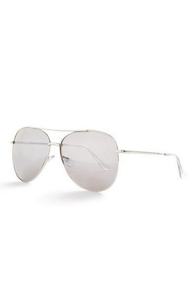 Silvertone And Clear Basic Aviator Sunglasses offer at £1.5