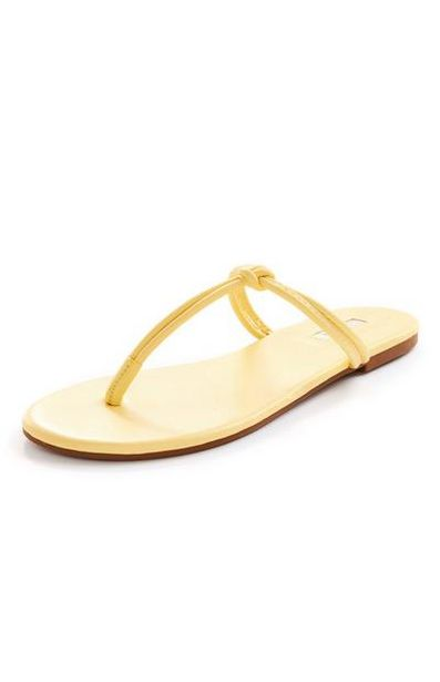 Lemon Yellow Knot Toe Post Sandals offer at £4