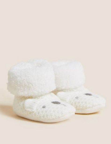 Polar Bear Knitted Booties (0-24 Mths) offer at £8