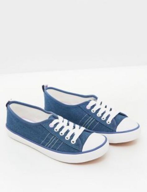 Lace Up Canvas Eyelet Detail Trainers offer at £12