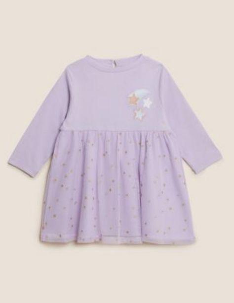 Cotton Star Print Dress (0-3 Yrs) offer at £14